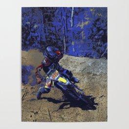 Leaning In - Motocross Racer Poster