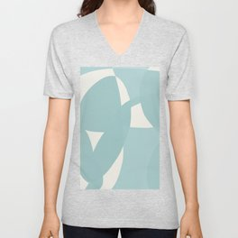 Abstract in dusty light blue and neutral shades Unisex V-Neck