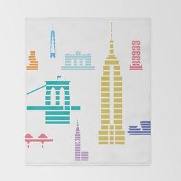 New York Skyline White Throw Blanket