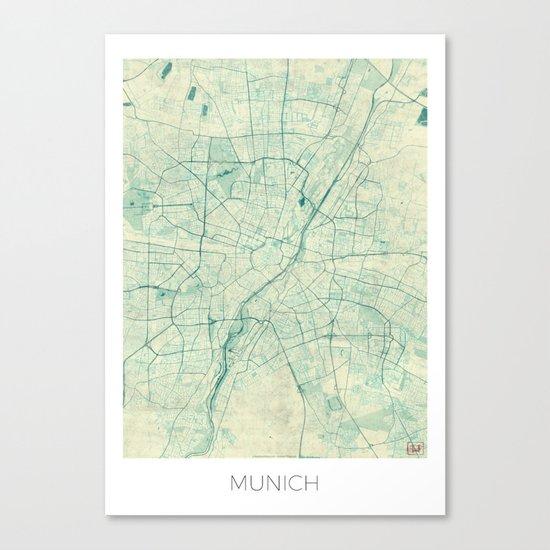 Munich Map Blue Vintage Canvas Print