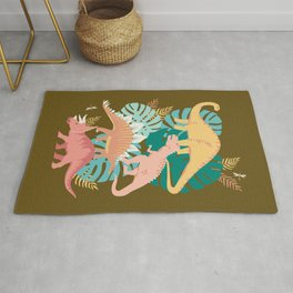 Jungle Dinosaurs on Gold Rug