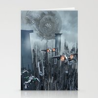 sci fi Stationery Cards featuring Sci-Fi City by Michael Lenehan