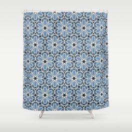 Symmetrical Flower Pattern in Blue Shower Curtain