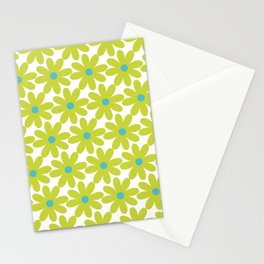 Cheerful Springtime Flowers Floral Pattern in Lime Green and Turquoise on White Stationery Cards