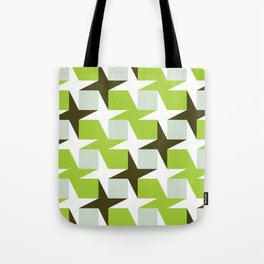 Geometric Pattern #96 (green squares white stars) Tote Bag