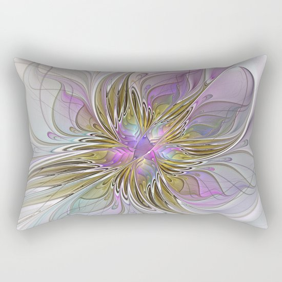 Flourish, Abstract Fractal Art Flower Rectangular Pillow