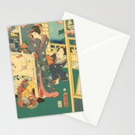 Spring Outing In A Villa Diptych #2 by Toyohara Kunichika Stationery Cards