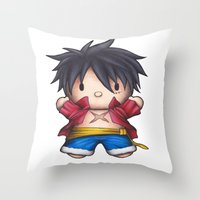 luffy Throw Pillows featuring Hello Luffy by ADCArtAttack