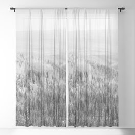 pine forest black white wooded area nature landscape print Sheer Curtain