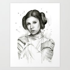 Princess Leia Watercolor Carrie Fisher Portrait Art Print