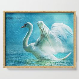 White Swan During a Summer Shower Serving Tray
