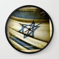 israel Wall Clocks featuring Israel grunge sticker flag by Lulla