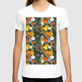 60's Swamp Floral in Midnight Black T-shirt