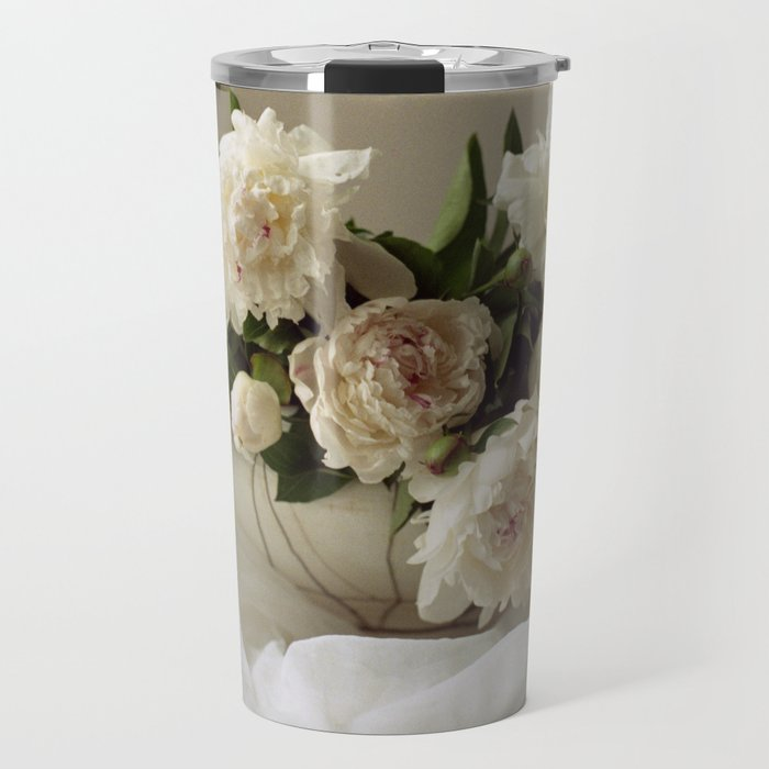 Garden peonies for Justine - wedding bouquet photography Travel Mug