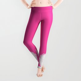 Beautiful white heart shaped hearts on pink background Leggings