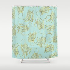 Gold Squid (Mint) Shower Curtain