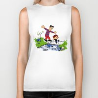 calvin and hobbes Biker Tanks featuring Little Viking and Strong Man ('Calvin and Hobbes' / 'Pete and Pete' parody) by PeterParkerPA