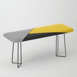 Simple Modern Gray Yellow and Black Geometric Bench