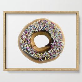 Chocolate Ring Donut Covered With Sprinkles Serving Tray