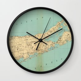 Vintage Map of Suffolk County NY (1895) Wall Clock