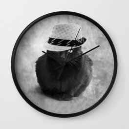 Cat with hat Wall Clock