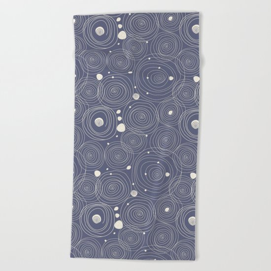 Blue Scribbles Pattern 08 Beach Towel