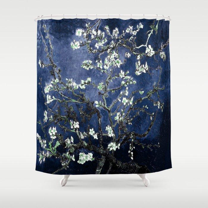 Vincent Van Gogh Almond Blossoms Dark Blue Shower Curtain by ...
