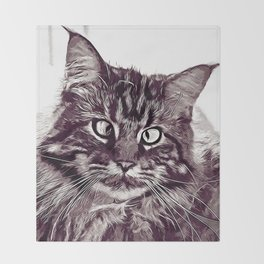 squinting maine coon cat vector art white Throw Blanket