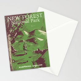 New Forest, Hampshire, England national park vintage poster Stationery Cards