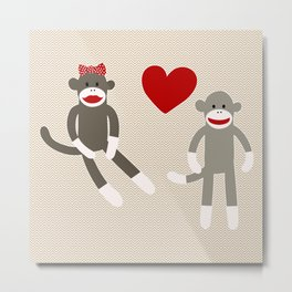 Sock Monkey Love Metal Print