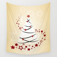 christmas tree Wall Tapestries featuring christmas tree by Li-Bro