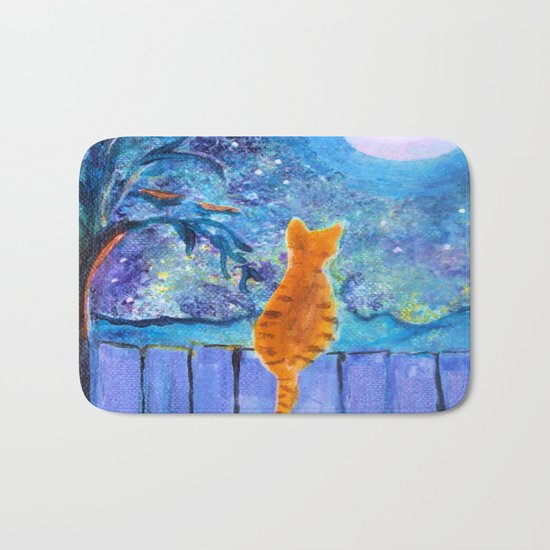 Cat in the Moonlight Bath Mat