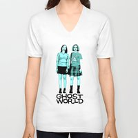 ghost world V-neck T-shirts featuring Ghost World by joshuahillustration