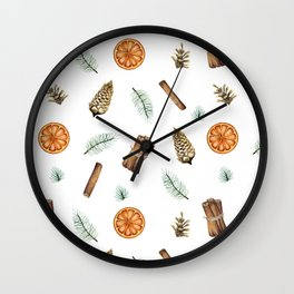 Christmas pattern with citrus and cinnamon Wall Clock