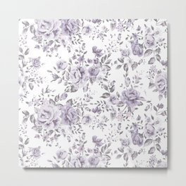 FLORAL VINTAGE ROSES MAUVE WHITE Metal Print