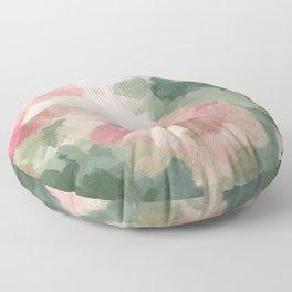Forest Sage Green Fuchsia Pink Floral Rose Garden Abstract Flower Painting Art Print Wall Decor  Floor Pillow