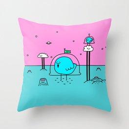 Happy Space Bird Throw Pillow