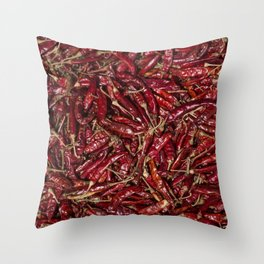 Closeup of dried chilli Throw Pillow
