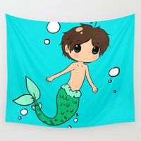 shingeki no kyojin Wall Tapestries featuring Chibi Mer!Eren by Sir-Snellby
