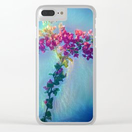 Red flower on blue sky Clear iPhone Case