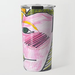 """Atrocious Face"" - a scan of artwork By Dorothy Messenger, copyrighted Travel Mug"
