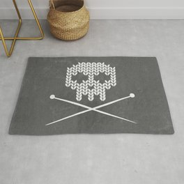Knitted Skull (White on Grey) Rug