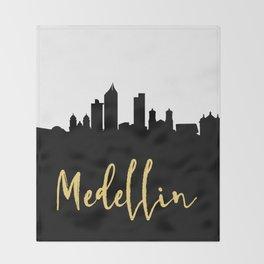MEDELLIN COLOMBIA DESIGNER SILHOUETTE SKYLINE ART Throw Blanket