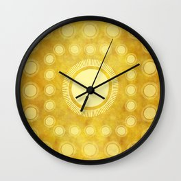 """Gold & Yellow Ethnic Sun (Pattern)"" Wall Clock"