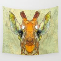marley Wall Tapestries featuring abstract giraffe calf by Ancello