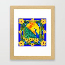YELLOW HIBISCUS FULL GOLDEN MOON  BLUE PEACOCKS Framed Art Print