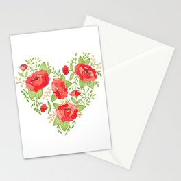 Rose Heart watercolor Stationery Cards
