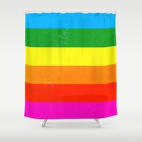 polaroid Shower Curtains featuring Polaroid 108 by Neon Wildlife