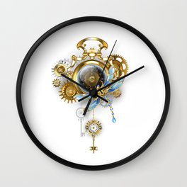 Steampunk Clock with Mechanical Dragonfly Wall Clock