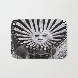 carnival mask Costume man black and white photograph Bath Mat